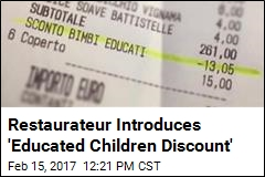 Restaurateur Introduces 'Educated Children Discount'