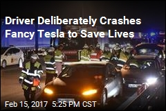 Driver Purposefully Crashes Fancy Tesla to Save Lives
