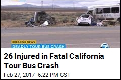 1 Killed, 26 Hurt in California as Tour Bus Hits 2 Cars