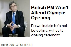 British PM Won't Attend Olympic Opening