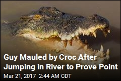 Guy Mauled by Croc After Jumping in River to Prove Point
