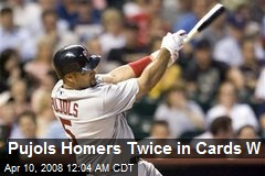 Pujols Homers Twice in Cards W