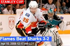 Flames Beat Sharks 3-2