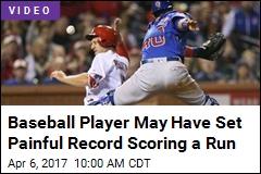 Baseball Player May Have Set Painful Record Scoring a Run