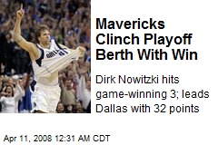 Mavericks Clinch Playoff Berth With Win