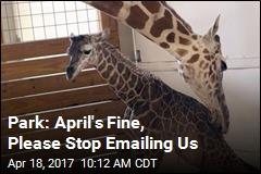 Park: April's Fine, Please Stop Emailing Us