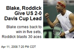 Blake, Roddick Give US 2-0 Davis Cup Lead
