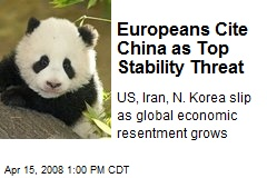 Europeans Cite China as Top Stability Threat