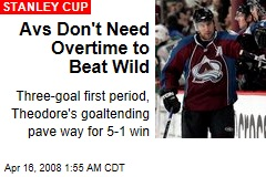 Avs Don't Need Overtime to Beat Wild