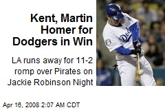 Kent, Martin Homer for Dodgers in Win