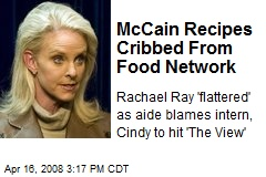 McCain Recipes Cribbed From Food Network
