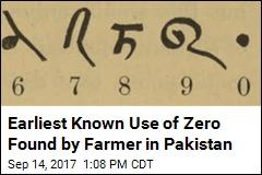Earliest Known Use of Zero Found by Farmer in Pakistan