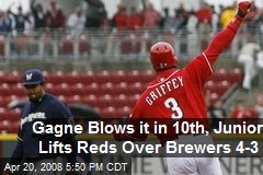Gagne Blows it in 10th, Junior Lifts Reds Over Brewers 4-3