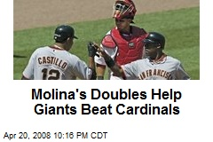 Molina's Doubles Help Giants Beat Cardinals