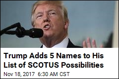 Trump Adds 5 Names to His List of Supreme Court Possibilities