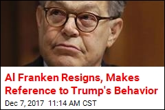 Al Franken Resigns, Makes Reference to Trump's Behavior