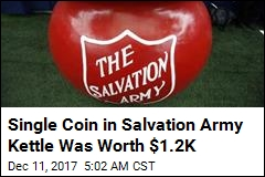 $1.2K Gold Coin Left in Salvation Army Kettle