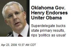 Oklahoma Gov. Henry Endorses Uniter Obama