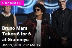 Bruno Mars Takes 6 for 6 at Grammys