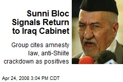 Sunni Bloc Signals Return to Iraq Cabinet