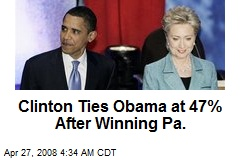 Clinton Ties Obama at 47% After Winning Pa.