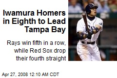 Iwamura Homers in Eighth to Lead Tampa Bay