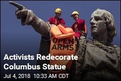 Columbus Statue Gets a Protest Life Jacket