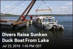 Sunken Duck Boat Is Raised From Lake Bottom