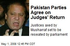 Pakistan Parties Agree on Judges' Return
