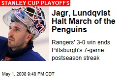 Jagr, Lundqvist Halt March of the Penguins