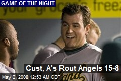 Cust, A's Rout Angels 15-8