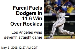 Furcal Fuels Dodgers in 11-6 Win Over Rockies
