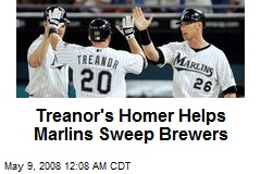 Treanor's Homer Helps Marlins Sweep Brewers