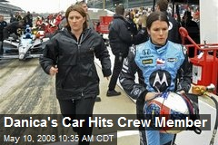 Danica's Car Hits Crew Member