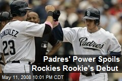 Padres' Power Spoils Rockies Rookie's Debut