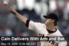 Cain Delivers With Arm and Bat