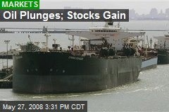 Oil Plunges; Stocks Gain