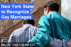 New York State to Recognize Gay Marriages