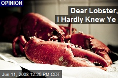 Dear Lobster, I Hardly Knew Ye