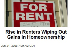 Rise in Renters Wiping Out Gains in Homeownership