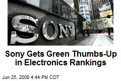 Sony Gets Green Thumbs-Up in Electronics Rankings