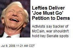 Lefties Deliver 'Joe Must Go' Petition to Dems