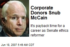 Corporate Donors Snub McCain
