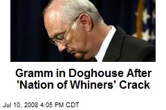 Gramm in Doghouse After 'Nation of Whiners' Crack