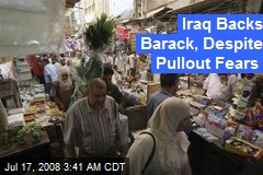 Iraq Backs Barack, Despite Pullout Fears