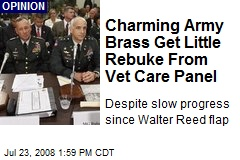 Charming Army Brass Get Little Rebuke From Vet Care Panel