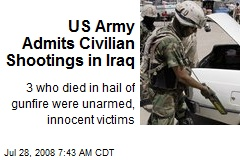 US Army Admits Civilian Shootings in Iraq