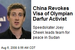 China Revokes Visa of Olympian Darfur Activist