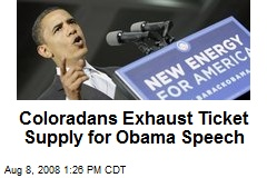 Coloradans Exhaust Ticket Supply for Obama Speech