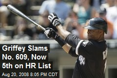 Griffey Slams No. 609, Now 5th on HR List